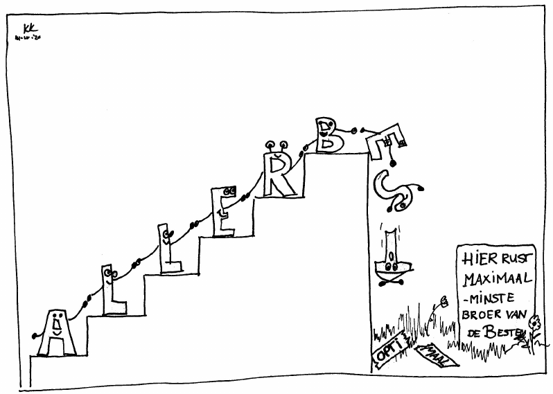 De overtreffende trap. Voor je het weet kukel je er vanaf